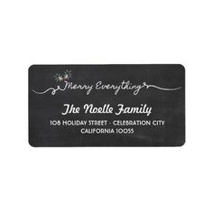 Chalkboard Merry Everything Mistletoe Holiday Custom Address Labels