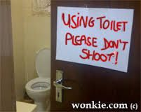 I'm using the toilet, plz don't shoot Milk And Honey, African, Signs, South Africa, Toilet, Image, Flush Toilet, Shop Signs, Toilets