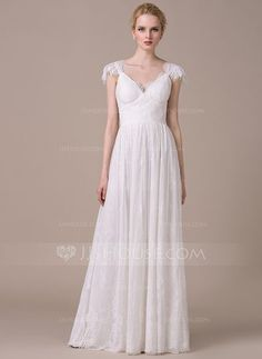 [US$ 199.99] A-Line/Princess V-neck Floor-Length Lace Wedding Dress