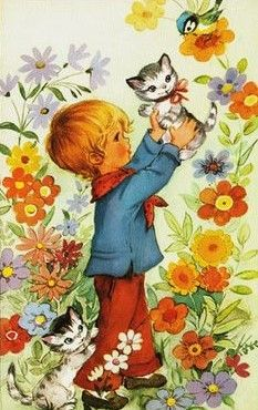 Vintage Postcards, Vintage Images, Vintage Art, Victorian Illustration, Cute Illustration, Mary May, Cute Little Kittens, Creation Photo, Holly Hobbie