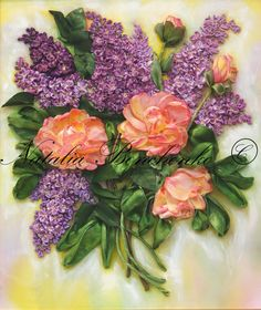 Lilac and Roses - silk ribbon embroidery