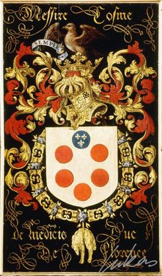 "(195) Côme de MÉDICIS, duc de Florence, Ier grand duc de Toscane (1519-1574) -- ""Messire Cosme de Medicis, duc de Florence"" -- Armorial plate from the Order of the Golden Fleece, 1559, Saint Bavo Cathedral, Gent"