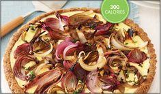 Savory roast onion tart with ricotta cheese 300 calories