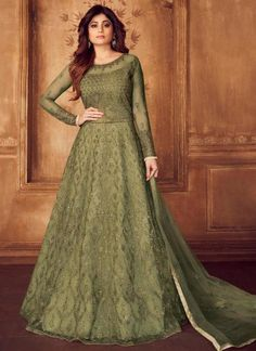 Olive Green Color Butterfly Net Thread Embroidered Party Wear Anarkali Dress Product Details : Unlock the secret of ultimate comfort wearing this olive green color anarkali salwar kameez. Crafted of butterfly net, this floor length anarkali comes wi Anarkali Dress, Anarkali Suits, Gown Dress, Abaya Fashion, Fashion Dresses, Indian Fashion, Floor Length Anarkali, Designer Anarkali, Indian Ethnic Wear
