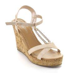 De Bengonia Women T-Strap Floral Braid Espadrille Platform . Wedge Heels, Stiletto Heels, High Heels, Nude Wedges, Open Toe Sandals, T Strap, Shoes Online, Espadrilles, Braids
