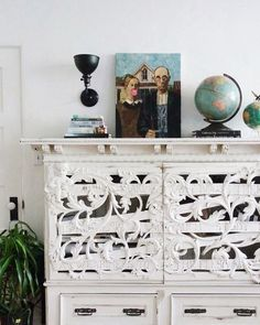 Unique carved cabinet and fun art