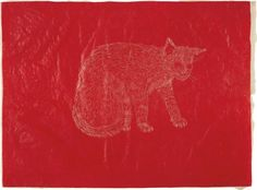 Kiki Smith (American, born Germany 1954), Cat, 1996, Ink on rice paper, 18 x 24 in.