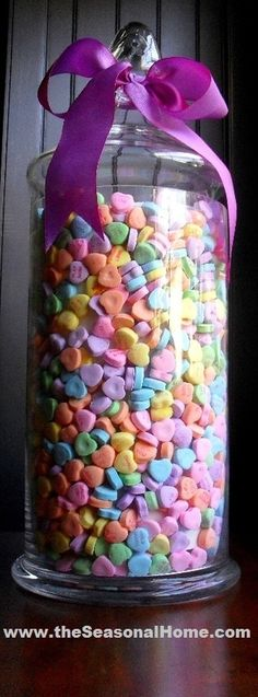 Valentines Day Jar with Conversation hearts, hmmmm  I have a large jar like this