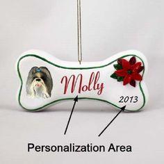 Shih Tzu Mixed Dog Breed Christmas Bone Ornament