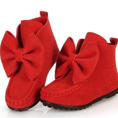 Winter Baby Kids Girls Dancing Shoes Adornment Santa Christmas Gift Princess Leather Flats Bowknot Short Boots