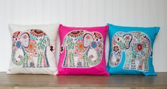 """Elephant Pillow- 12""""x12"""" Throw Pillow Cover with paisley elephant appliqué, choice of pink, cream or blue backing on Etsy, $24.99"""