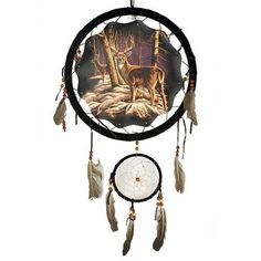Buck Deer In Snow Dream Catcher 13 inch with Feathers