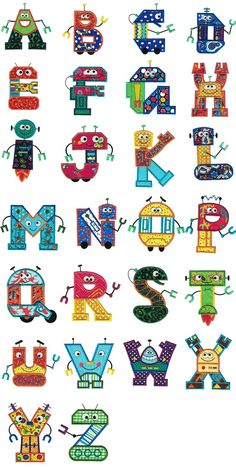 Robots Applique Alphabet Machine Embroidery Designs by JuJu Alphabet Design, Hand Lettering Alphabet, Alphabet Art, Cross Stitch Alphabet, Alphabet And Numbers, Alphabet Quilt, Embroidery Store, Machine Embroidery Patterns, Embroidery Fonts