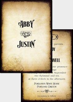 Old paper wedding invitations.