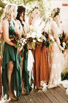 Loving everything about these emerald and rust-colored frocks from Free People and For Love and Lemons | Image by Sanford Creative
