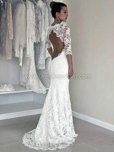 Trumpet/Mermaid White Lace Scoop With Open Back 3/4 Sleeve Modest Wedding Dress - dressesofgirl.com