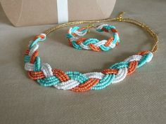 Peach and mint beaded necklace and bracelet by Emmiemaeboutique, $24.00