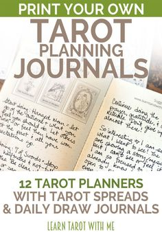 Get the 2017 tarot daily planners! Each planner (pdf printable and physical version, in 5 different sizes) contains 64 pages of tarot journaling goodness. There are monthly and weekly tarot spreads and more than 30 pages for your daily card draws. From Learn Tarot With Me, your shop for DIY tarot tools. #learningtarotcards