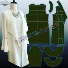 if you intersting this pattern, we will send e-pattern via email with format dxf and pdf use this link below for complete the purcase Menerima pembuatan pola pakaian whatsapp : 081291742958 / 081906488446 Revers jacket with ruffled sleeves Coat Patterns, Dress Sewing Patterns, Clothing Patterns, Fashion Sewing, Diy Fashion, Fashion Outfits, Sewing Clothes, Diy Clothes, Clothes For Women