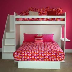 This bedroom is my future bedroom I just love all the pink and I have always wanted a bunk bed type bed. This is my future bedroom. I love this type of bed and the steps are also little pull out drawers that I personally would put all my books in. Because I love to read books and I have 1 bookshelf that is overflowing. This bedroom is the cutest one I have ever seen. I wish I could see this bedroom in my future someday. I really want that bed isn't it just plain ADORABLE. I love it so…