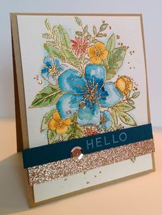 Watercolouring and gold embossing...just a few of my favorite things! I ordered this amazing stamp set from Concord and 9th a few weeks ag...