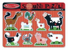 """Melissa & Doug Farm Animals Sound Puzzle by Melissa & Doug. $10.43. From the Manufacturer                Each happy farm animal """"sounds off"""" in its own voice when the animal puzzle pieces is placed correctly in the puzzle board of this wooden eight-piece peg puzzle. Your child will enjoy all eight sounds and the full-color, matching pictures under the pieces. Eye- and ear-catching puzzle enhances matching and listening skills.                                    Product D..."""