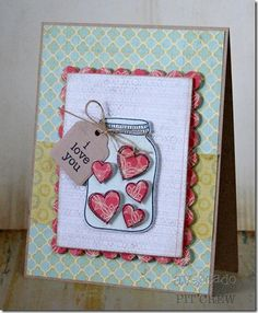 Paper pieced, cut out hearts make this jar super cute and easy to make by Kimberly Crawford.
