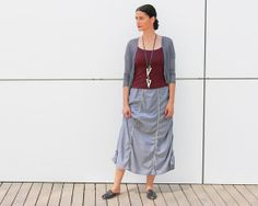 Long light cotton skirt  gray maxi skirt with by natafashion, $98.00