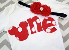 """Minnie Mouse Inspired Birthday """"One"""" Shirt for Girls First Birthday - 1st Birthday Shirt - Red Polka Dots- Matching Headband. $33.00, via Etsy."""