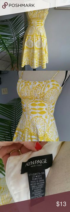 Alyn Paige yellow and white lemon sun dress Alyn Paige New York yellow and white lemon sun dress size 3/4. Great condition like new!! No stains or tears! 🍋 Alyn Paige Dresses Midi
