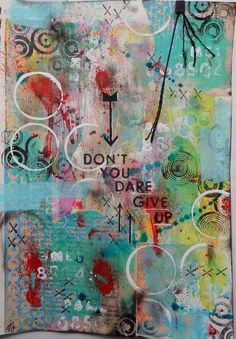 Art Journal page by Christy Butters : acrylic paint, Gelli Print scraps, Stamping, StencilGirl stencil