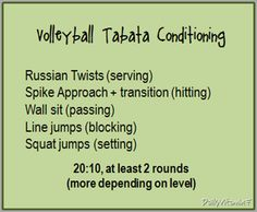 volleyball skills conditioning - tabata style (20 seconds exercise, 10 second rest).