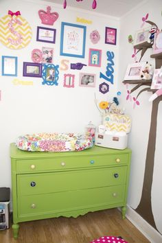 Project Nursery - Bright Green Refished Dresser. This whole nursery is just the style I'm going for in the girl's room.