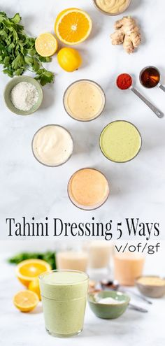 Five healthy and versatile variations on simple tahini dressing. Perfect on salads, sandwiches, roasted veggies, grain bowls, and as a healthy dip. Five delicious and healthy variations on creamy tahini dressing. Great for so much more than just salads! Tahini Salad Dressing, Salad Dressing Recipes, Tahini Dip, Vegan Sauces, Vegan Dishes, Chutney, Whole Food Recipes, Cooking Recipes, Veggies