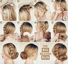 This Big Braided Bun is a Quick and Cute Hairdo to Try - http://www.stylishboard.com/big-braided-bun-quick-cute-hairdo-try/