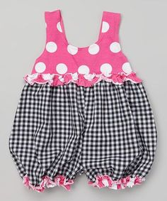 Inspiration - Loving this Black Gingham Baby Bubble Romper - Infant onCuddly in cotton with snaps and elasticized leg openings, this comfy bubble romper is as nice to wear as it is to look at. Flaunting a mix of vibrant prints and a ruffle detail, it& a q Baby Dress Patterns, Baby Clothes Patterns, Clothing Patterns, Baby Girl Fashion, Kids Fashion, Toddler Outfits, Kids Outfits, Kids Frocks, Little Girl Dresses