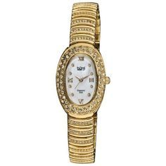 Burgi Women's BUR070YG Diamond Oval Quartz Bracelet Watch Burgi. $83.16. Crystal filled bezel. Gold-tone bracelet adorned with rows of crystals. Water-resistant to 10 M (33 feet). White Mother-Of-Pearl dial. Eight genuine diamond hour markers. Save 83% Off!