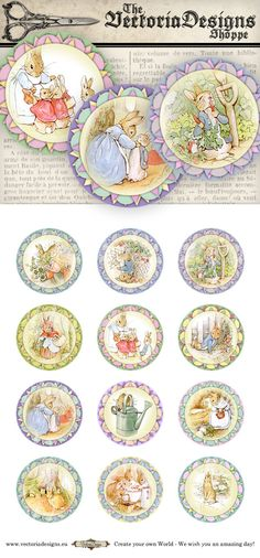 Peter Rabbit Beatrix Potter Cupcake Toppers 2 inch circles printable images instant download digital collage sheet VD0769