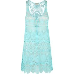 Adorned with beautifully-detailed lace, scallop-edge trims and a keyhole detail on the front, this tiered vest dress is a fun, fashionable way to cover up on t…