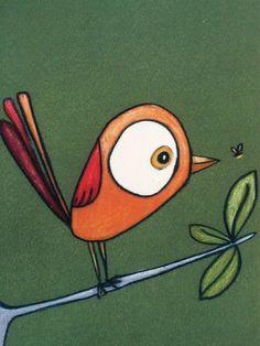 Art Drawings For Kids, Bird Drawings, Bird Wall Art, Rock Painting Designs, Whimsical Art, Bird Prints, Stone Art, Rock Art, Doodle Art