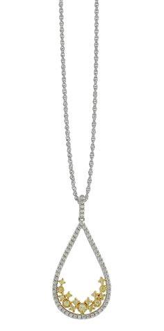 white yellow diamond pendant necklace