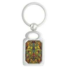 Art Nouveau Glowing Stained Glass Window Design Keychain - light gifts template style unique special diy