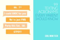 If you've got tweens or teens, this must-read list of 99 texting acronyms covers everything from the basics, to things you may wish you didn't know at all.