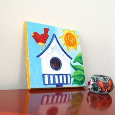 Girls Room Art, RED BIRD HOME, 8x8 Acrylic Canvas, Nursery Decor, Kids Art. $38.00, via Etsy. http://www.etsy.com/treasury/NTM5ODkzNXwyNzIzNjgyMzIw/christmas-in-the-country