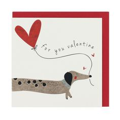 Sausage dog balloon Valentine's card