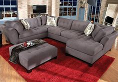 Cindy Crawford Home Metropolis Slate Right 4 Pc Livingroom - New couch for the living room...minus the printed pillows