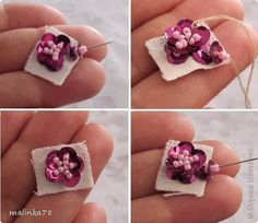 Decor items Masterclass Embroidery Beading Flower bead design for the core colors of fabric MK Beads Sequins 6 photos - Salvabrani Bead Embroidery Tutorial, Bead Embroidery Jewelry, Beaded Jewelry Patterns, Beading Patterns, Embroidery Patterns, Embroidery Bracelets, Couture Embroidery, Ribbon Embroidery, Beaded Flowers