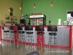 Snack bar - metal front  Maybe stained wood instead of painted?
