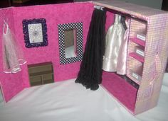 Barbie Dream Closet.  Made from boot box. DIY - I knew I was saving those boxes for a reason LOL!