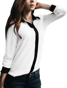 4d24dc90060 Allegra K Women Long Sleeve Button Down Sheer Chiffon Shirt Blouse White XS  Semi Sheer